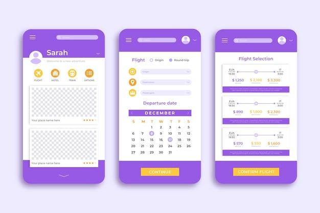 Modello di app per smartphone di prenotazione viaggi