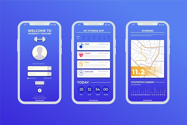 Modello di app per smartphone sport tracker