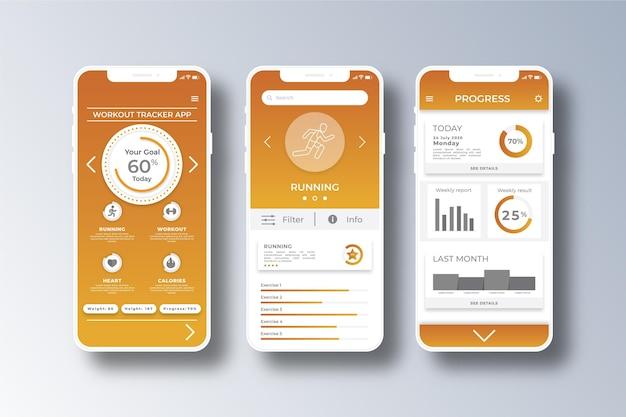 Modello di app per smartphone tracker allenamento