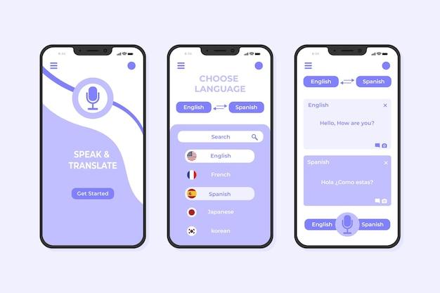 Modello di app per smartphone traduttore viola pastello