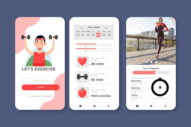 Modello di app tracker allenamento