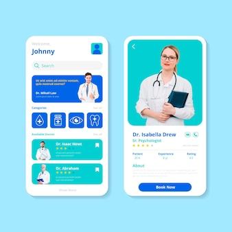 Modello di applicazione di prenotazione medica con foto