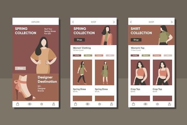 Modello di applicazione per lo shopping di moda