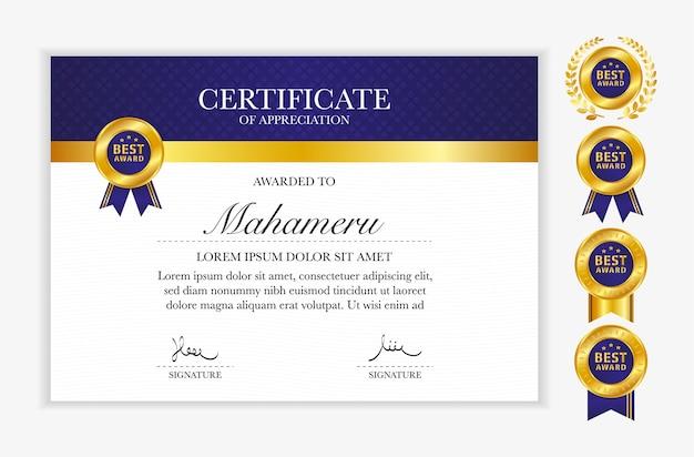 Modello di apprezzamento del certificato di colore oro e blu