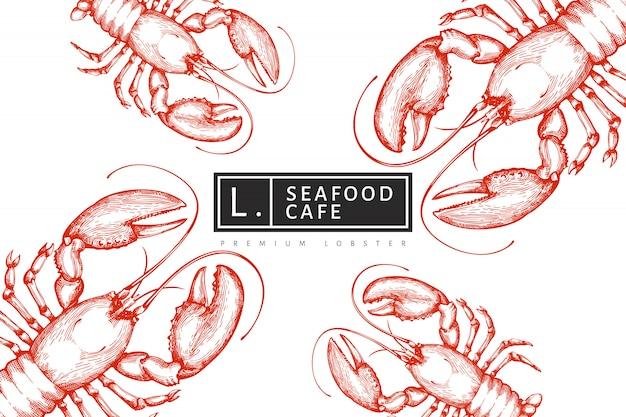 Modello di aragosta. illustrazione di frutti di mare disegnati a mano stile inciso. sfondo di animali marini vintage