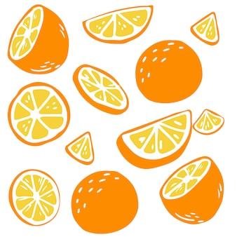 Modello di arance su bianco