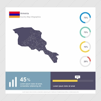 Modello di armenia map & flag infographics
