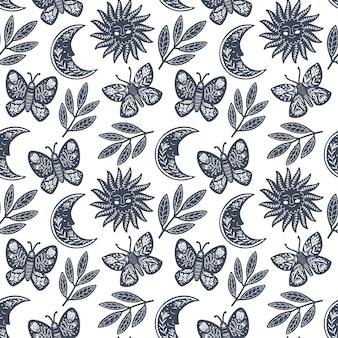 Modello di arte popolare scandinava senza soluzione di continuità con farfalla in design nordico.