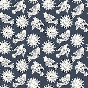Modello di arte popolare scandinava senza soluzione di continuità con uccelli e sole nel design nordico.