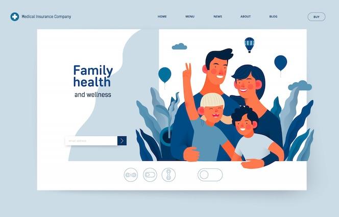 Modello di assicurazione medica - salute e benessere della famiglia