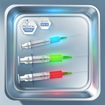 Modello di attrezzature mediche con siringhe e iniezioni di diversi colori nell'illustrazione isolata sterilizzatore