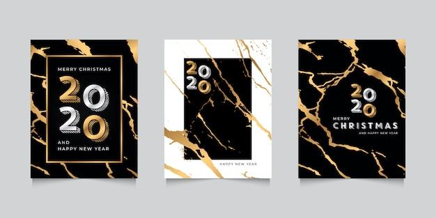 Modello di auguri di felice anno nuovo 2020 con struttura in marmo oro