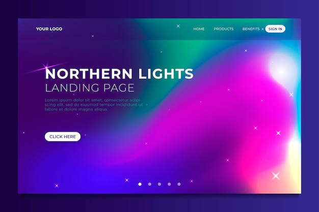 Modello di aurora boreale della pagina di destinazione