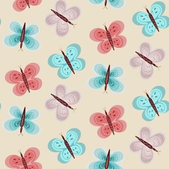 Modello di bambina con farfalle blu e rosa