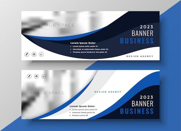 Modello di bandiera blu business ondulato