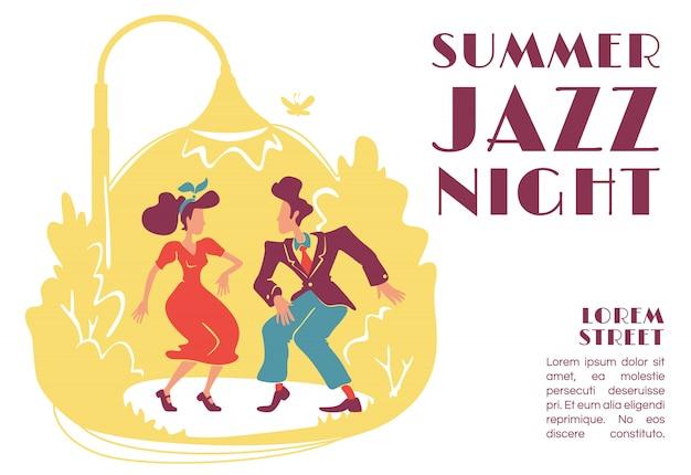 Modello di bandiera di notte jazz estivo. festa all'aperto in stile retrò. discoteca rock n roll anni '50. opuscolo, poster concept design con personaggi dei cartoni animati. volantino orizzontale, volantino con posto per il testo