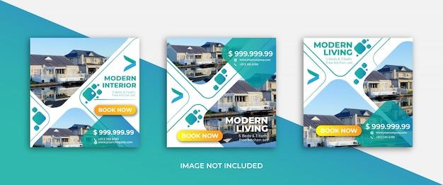 Modello di bandiera di vendita immobiliare elegante