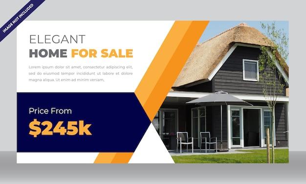 Modello di bandiera di vendita immobiliare o casa