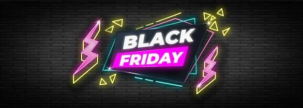 Modello di bandiera di venerdì nero design al neon