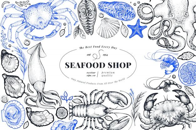Modello di bandiera disegnata a mano negozio di frutti di mare.