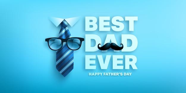 Modello di bandiera felice festa del papà con cravatta e occhiali. saluti e regali per la festa del papà