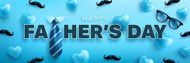 Modello di bandiera felice festa del papà con cuore carino, cravatta e occhiali. saluti e regali per la festa del papà