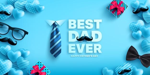 Modello di bandiera felice festa del papà con cuore carino, scatola regalo, cravatta e occhiali. saluti e regali per la festa del papà