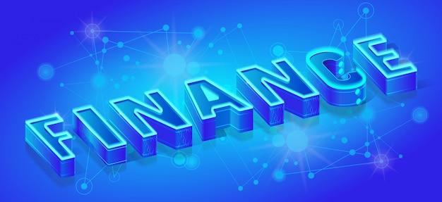 Modello di bandiera isometrica finanza, neon