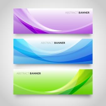 Modello di bandiere astratte di onda colorata