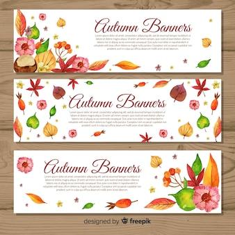 Modello di bandiere di autunno stile acquerello