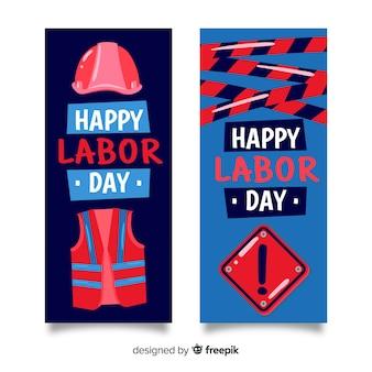Modello di bandiere di festa del lavoro disegnati a mano
