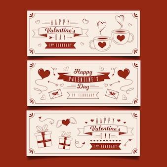 Modello di bandiere di san valentino disegnati a mano