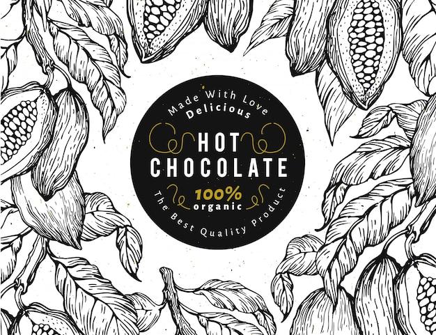 Modello di banner albero di fava di cacao.