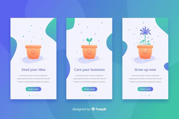 Modello di banner app mobile flowerpot disegnato a mano