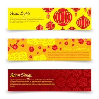 Modello di banner asiatico tradizionale. luci e fiori cinesi e giapponesi di vettore