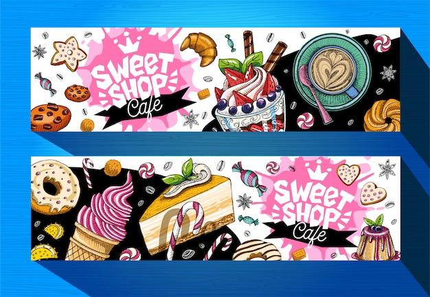 Modello di banner caffè negozio di dolci. etichette di dolci colorati, emblema. scritte, design, pasticceria, croissant, caramelle, biscotti, colorati, splash, caffè, doodle, buonissimi.
