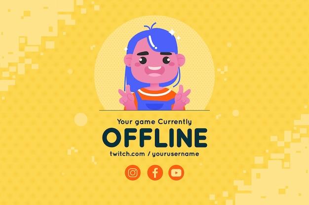 Modello di banner carino twitch offline