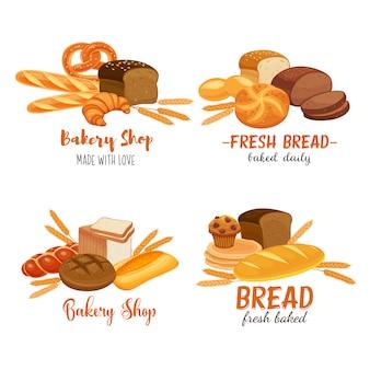 Modello di banner cibo con prodotti a base di pane. pane di segale e pretzel, muffin, pita, ciabatta e croissant, pane integrale e integrale, bagel, pane tostato, baguette francese per panetteria di design.
