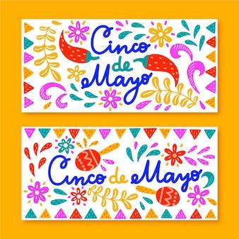 Modello di banner cinco de mayo disegnati a mano