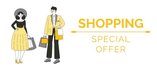 Modello di banner commerciale. vendita stagionale, concetto del manifesto di offerta speciale.