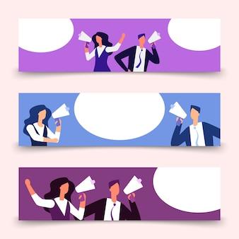 Modello di banner con donna e uomo con megafono