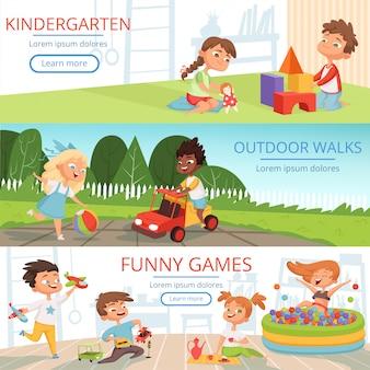 Modello di banner con immagini di bambini in età prescolare con vari giocattoli educativi