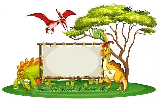 Modello di banner con molti tipi di dinosauri