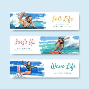 Modello di banner con tavole da surf in spiaggia