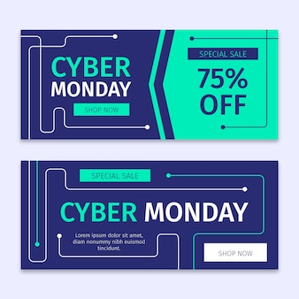 Modello di banner cyber lunedì design piatto