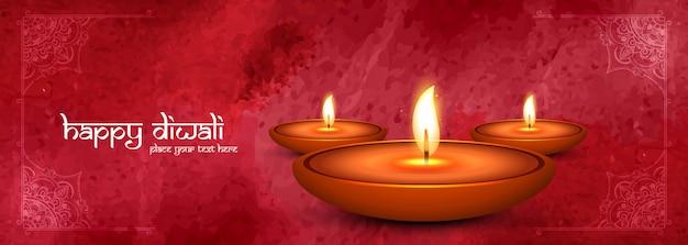 Modello di banner decorativo felice diwali diya