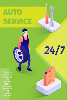 Modello di banner del servizio automatico a tempo pieno