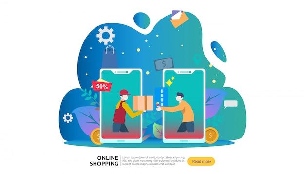Modello di banner dello shopping online. concetto di business per la vendita di e-commerce.