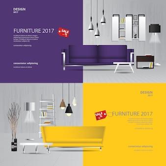 Modello di banner design di vendita di mobili