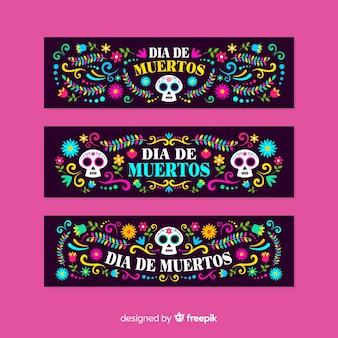Modello di banner design piatto día de muertos